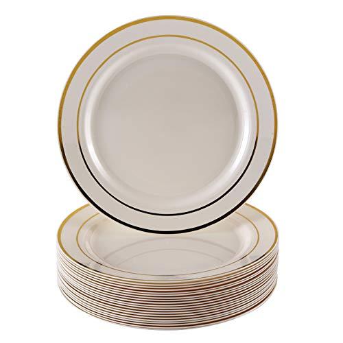 VAJILLA PARA FIESTAS DESECHABLE DE 20 PIEZAS   20 platos auxiliares  Platos de plástico resistente   Elegante aspecto de porcelana fina   Para bodas y comidas de lujo (Marfil/Borde dorado  19 cm)