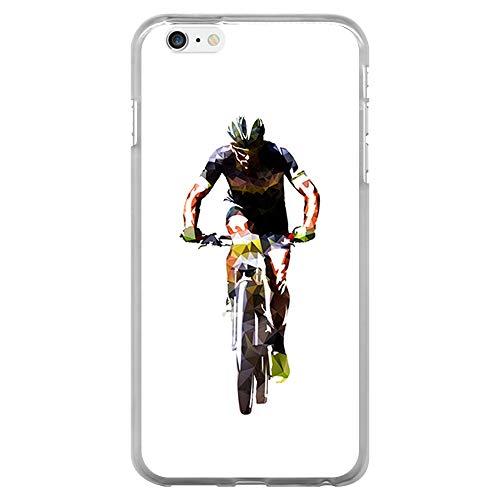 BJJ SHOP Custodia Trasparente per [ iPhone 6 Plus ], Cover in Silicone Flessibile TPU, Design: Ciclista di Fronte