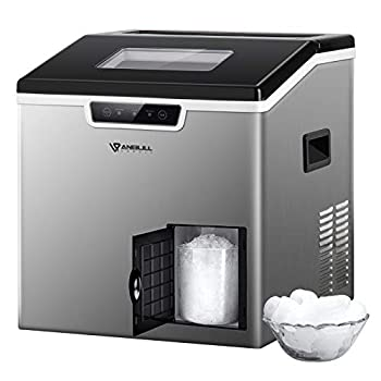 Anbull 2 in 1 Ice Maker & Shaver Machine 44lbs/24H Compact Round Ice Maker Countertop with Ice Crusher Portable Stainless Steel Crushed Ice Maker for Home/Office/Restaurant/Bar
