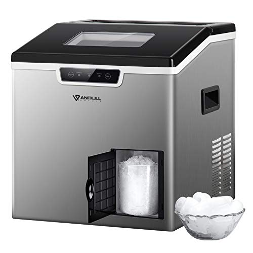 Anbull 2 in 1 Ice Maker & Shaver Machine, 44lbs/24H Compact Round Ice Maker Countertop with Ice Crusher, Portable Stainless Steel Crushed Ice Maker, for Home/Office/Restaurant/Bar