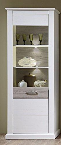 Stella Trading Modena Vitrine, Vitrinenschrank, Holz, weiß, (B/H/T) 75 x 208 x 42 cm