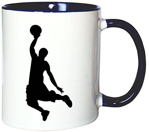 Mister Merchandise Kaffeetasse Becher Basketball Slamdunk Slam Dunk Dunking, Farbe: Weiß-Blau