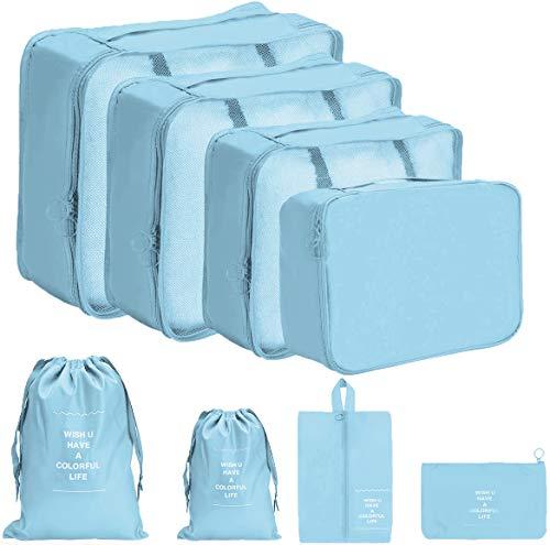 DoGeek Organizador de Equipaje 8 en 1 Set Viaje con Bolsa de Zapato, Impermeable Organizador de Maleta Bolsa para Ropa Sucia de Viaje, Material Nylon (Azul Claro)
