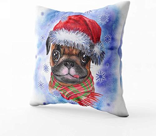 Art Funda de almohada, diseño de perro de Navidad con sombrero de Papá Noel y acuarela, con el símbolo del año a Claus de 20 x 20 cm, fundas de almohada para sofá