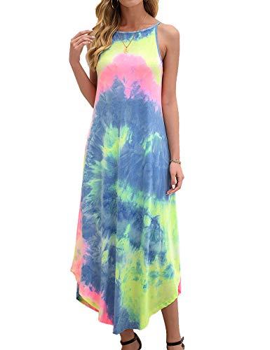 Halife Vestito da donna estivo casual a righe senza maniche sciolto spiaggia maxi abito - multicolore - XL