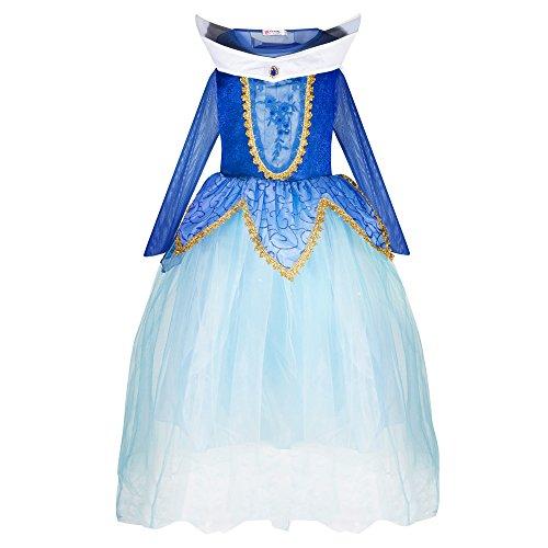 Katara 1772 - Disfraz de Princesa Aurora Bella Durmiente - Niñas 7-8 Años, Azul