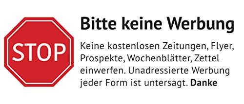 Keine Werbung Aufkleber in Weiss - Schild – Folie - Sticker (Stop Bitte Keine Kostenlose Zeitung, Reklame, Flyer, Werbung einwerfen) für den Briefkasten (1)