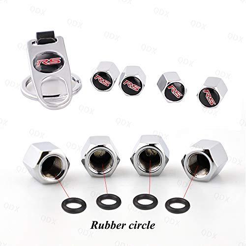 Cubiertas de válvula antipolvo (4 unidades) impermeables a prueba de fugas para válvulas de rueda anticorrosión tapones de aire con llave antirrobo (1 unidad) para Audi RS Logo (plateado)