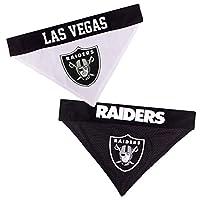 NFL DOG BANDANA - LA RAIDERS REVERSIBLE PET BANDANA. 2 Sided Sports Bandana with a PREMIUM Embroidery TEAM LOGO, Large/X-Large. - 2 Sizes & 32 NFL Teams available