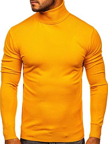 BOLF Hombre Jersey Cerrado Pulóver Cuello Alto Blusa Sueter Camiseta de Manga Larga Deporte Fitness Outdoor Básico Estilo Casual YY02 Amarillo L [5E5]