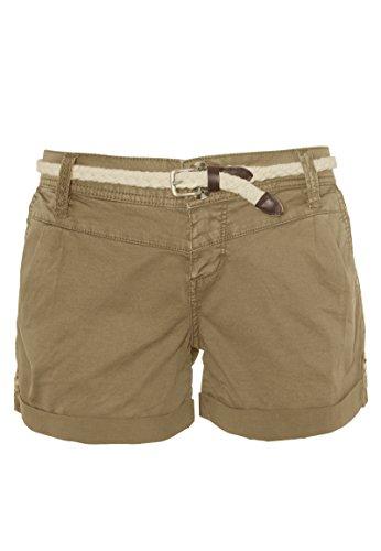 Eight2Nine Damen Chino Shorts Hose mit Flecht-Gürtel beige L