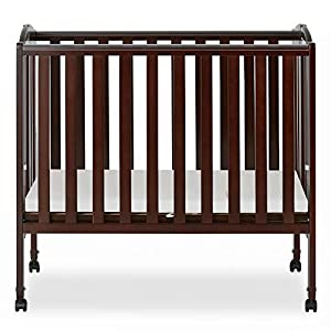 Dream On Me 2 in 1 Portable Folding Stationary Side Crib in Espresso, Greenguard Gold Certified