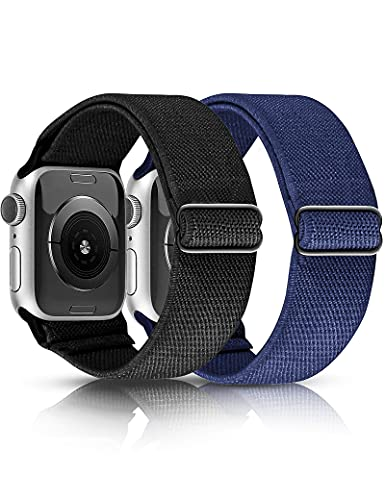 TOYOUTHS 2 Packs Elastic Bands Compatible with Apple Watch Bands 42mm 44mm Soft Watch Bands Stretchy Nylon Bands Replacement Wristband Compatible for Iwatch Series SE/6/5/4/3/2/1 (Black/Blue)