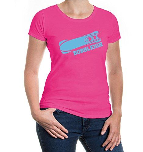 Girlie T-Shirt Bobsleigh-M-Fuchsia-Skyblue
