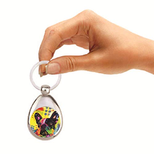 Enjoy it French Bulldog Keychain - Features the Pop Art of Dean Russo, Double Sided & Chrome Finish