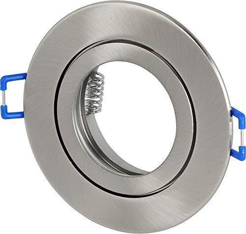 Spot IP44 Aluminium Einbaustrahler rund - mit Klickverschluss und Glasabdeckung - für Feuchtraum Bad - eisengebürstet