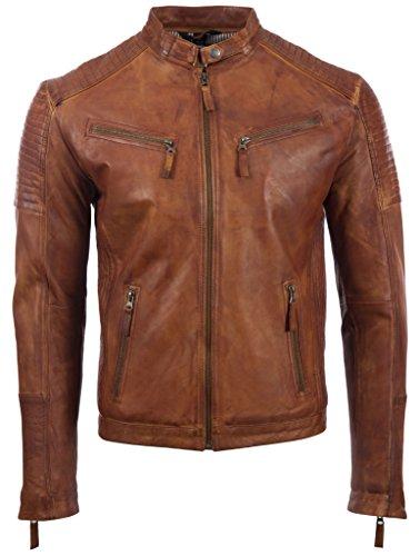 Aviatrix Herren Echtleder Biker Jacke mit Seitenstich und Schulter Detail (VO3W)- Gr. S / Brust=37 zoll, Nevada Timber