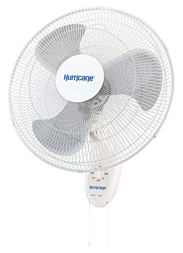 Hurricane HGC736506 Wall Mount Fan - 18 Inch, Supreme Series, 90 Degree Oscillation 3 Speed Settings, Adjustable Tilt - ETL Listed, 18-Inch, White