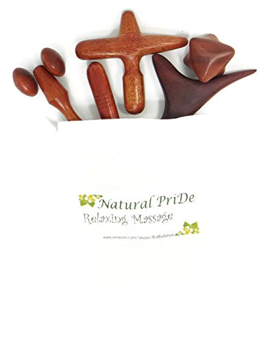 Natural PriDe Set 5 Pcs. Cloth bag Natural Reflexology Traditional Thai Massage Wooden Stick Tool Hand Head Foot Face Body Massage Tool Massager Red Wood office syndrome Reduces fatigue from work