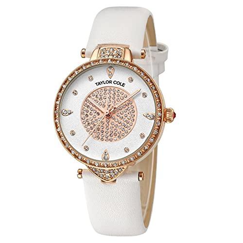 Zhou-YuXiang Anillo de Diamantes Glitter Wordface Cinturón de Cuero Reloj de Cuarzo Reloj Simple Reloj Impermeable Reloj de Pulsera Informal para Hombres y Mujeres