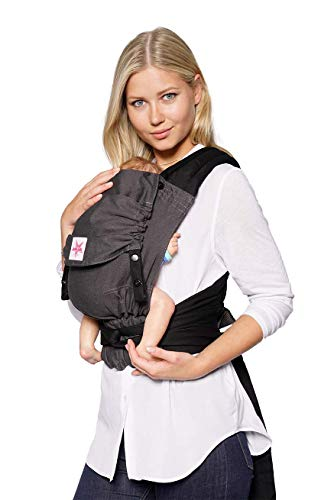 Babytrage KOKADI® TaiTai Just Mr. Grey (Babysize) – Babytrage ab Geburt ✓ Ergonomisch ✓ Mitwachsend ✓ Vorne & Hinten ✓ Sommer & Winter ✓ Zertifiziert ✓ Tragetuchstoff ✓ GRATIS Beutel
