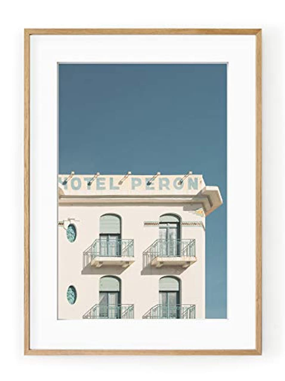 Hotel Peron Black Satin Aluminium Frame with Mount, Multicolored, 50x70