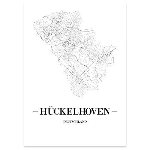 JUNIWORDS Stadtposter - Wähle Deine Stadt - Hückelhoven - 21 x 30 cm Poster - Schrift A - Weiß