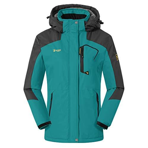 donhobo Damen Winter Fleecejacke Warm Jacke Softshelljacke Atmungsaktiv Outdoor Skijacke Winddichte Wasserdicht Funktionsjacke (Blau, L)