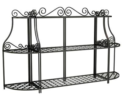 Panacea Forged 3-Tier Plant Stand with 2 Corner Stands, Black