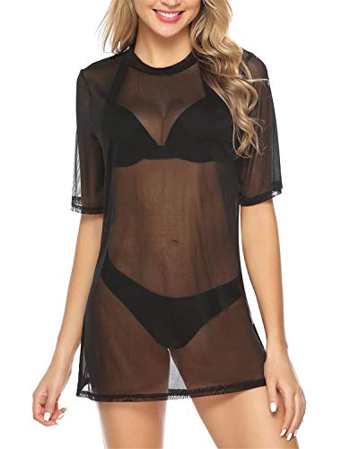 Hawiton Damen Transparent Netz Shirt Sexy Strandkleid Durchsichtiges Bikini Cover Up Sommertop Strandponcho Kurzarm Shirt Mesh Blusenkleid Party Oberteile, Schwarz, L