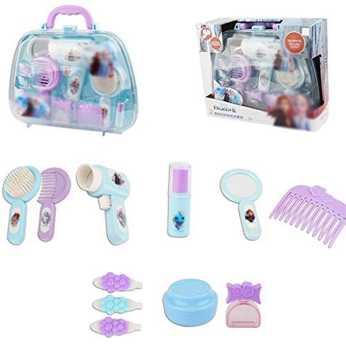 Meisje make-up speelgoed Kinder Simulatie Kaptafel Meisje Speelhuis Simulatie Prinses Kaptafel Met Föhn Kam Haarclip Speelgoed Verjaardagscadeau (Color : Blue, Size : 27 * 9 * 21cm)