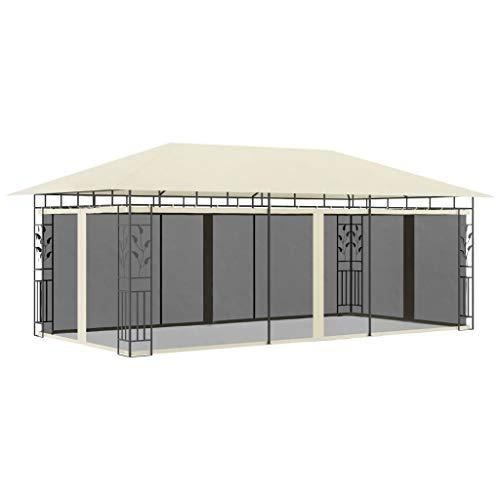 vidaXL Cenador con Mosquitera Toldo Parasol Marquesina Pabellón Carpa Gazebo de Jardín Aire Libre Terraza Exterior Fiestas Eventos Crema 6x3x2,73 m