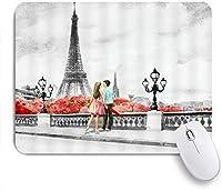 NIESIKKLAマウスパッド 油絵パリエッフェル塔ヨーロッパの都市の風景フランス恋人現代のカップル散歩ストリートブリッジヴィンテージガール ゲーミング オフィス最適 おしゃれ 防水 耐久性が良い 滑り止めゴム底 ゲーミングなど適用