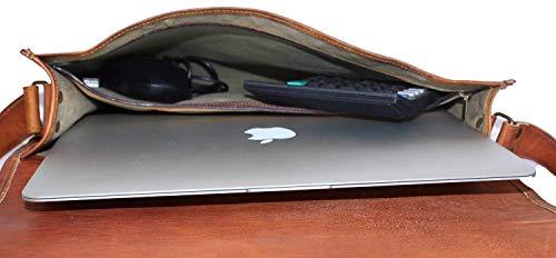 Leder-Herrentasche von Honey Leather Exportes - Die braune Vintage-Tasche aus Echtleder hat einen langen Schulterriemen - ideal für Laptop und Unterlagen