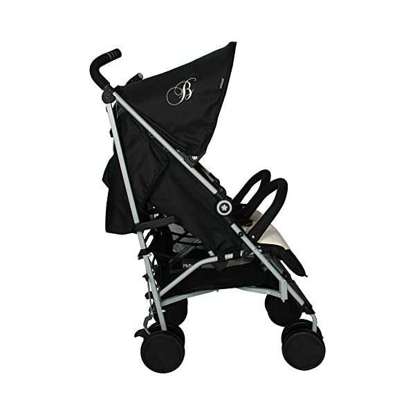 My Babiie Billie Faiers MB22 Black and Cream Double Stroller My Babiie Stylish ultra-modern stroller, Suitable from birth to maximum 22kg (each seat), Stunning complimentary colour handles Lightweight & strong chassis, Easy fold technology, Lockable front swivel wheels, Side carry handle Compact fold, Extendable 3 position canopy, Padded removable front bar, Large storage basket 3