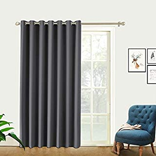 PRAVIVE Space Partition Blackout Curtains - Extra Wide Grommet Thermal Insulated Room Divider Panels Large Window Treatments for Studio/Workspace/Office (8.5ft Wide x 8ft Tall, Grey)
