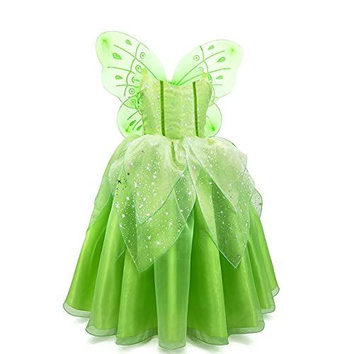 Disfraz de Campanilla con ala Mariposa para Nia Princesa Vestido Tut de Hada del Bosque Vestirse de Elfo Verde Disfrace para Fiesta de Cumpleao Halloween Cosplay Navidad Carnaval Verde 6-7 Aos