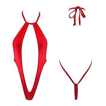 SHEERYLO Slingshot Bikini for Women Micro Monokini Red