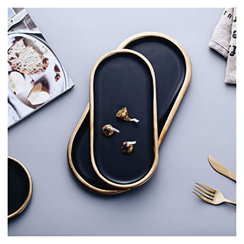 Youpin 2021 Platos de cerámica negros y dorados, platos de porcelana, plato de postre, plato de carne, bandejas de joyería, anillos y pulseras (color: 25,5 cm x 11,8 cm x 1 cm)