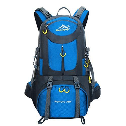 MYMM - Mochila deportiva, 50 l, para viajes, senderismo, exteriores, deportes, caminatas, acampadas, montañismo. Mochila impermeable., azul intenso