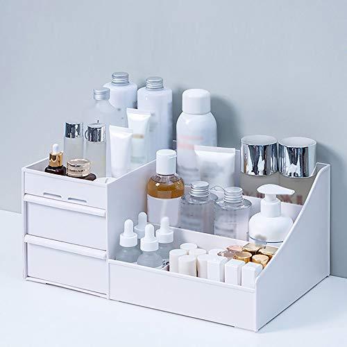Grand Volume de Stockage de cosmétiques, décorations Bureau Vernis à Ongles boîte de tiroir de Maquillage,White,32.3x19.5x13.7cm