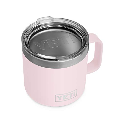 YETI Rambler 14 oz Mug, Stainless Steel, Vacuum Insulated with Standard Lid, Ice Pink