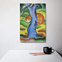 Canvas View Tree Green Painting Yellow Cat Grass Animal Hd Printed Home Decoration Pictures Poster Wall For Living Room Artwork 40x60cm Unframed