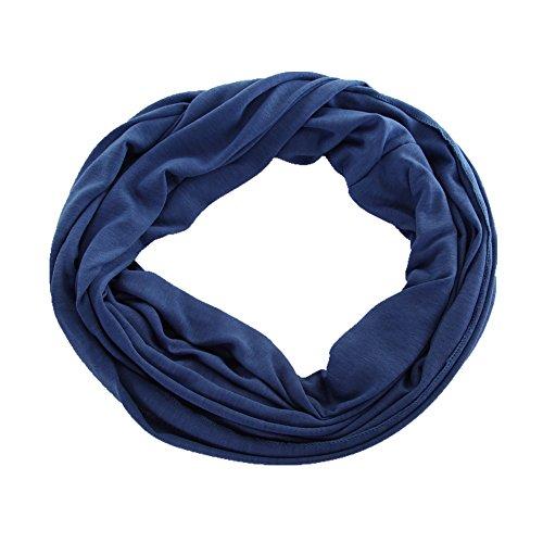 Miobo - Sciarpa ad anello in jersey, unisex, scaldacollo, in diversi colori in tinta unita Blu scuro taglia unica