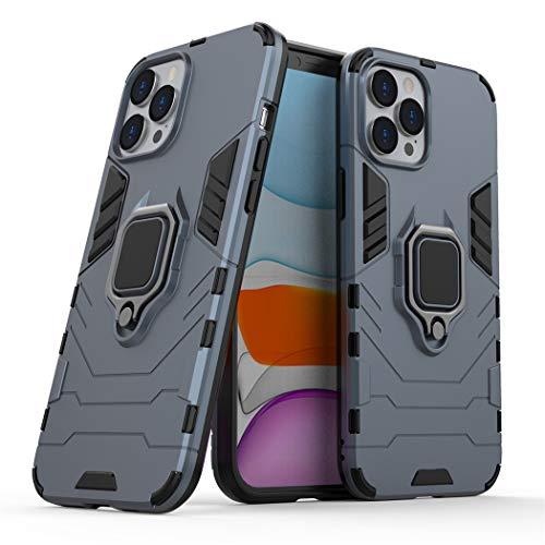 Compatible con Apple iPhone 12 Pro MAX Funda, Anillo Metálico Sujeción Soporte Antichoque Caja (Funciona con el Montaje de Coche Magnético) Doble Capa Case Carcasa (Azul Marino)