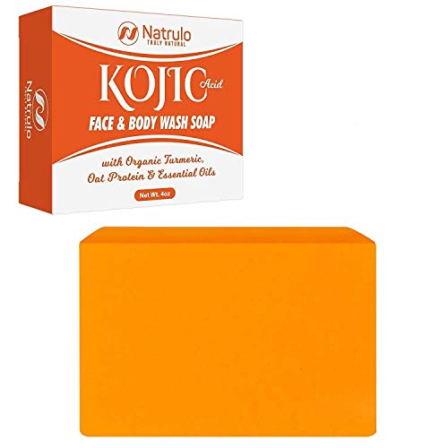 Kojic Acid Soap Face & Body Wash - Natural Hydrating Skin Cleanser Spot Corrector Acne Scar Remover - Improves Skin, Evens Tone, Fades Scars, Sun Damage, Age Spots - 4oz Natural Soap Handcrafted in the USA