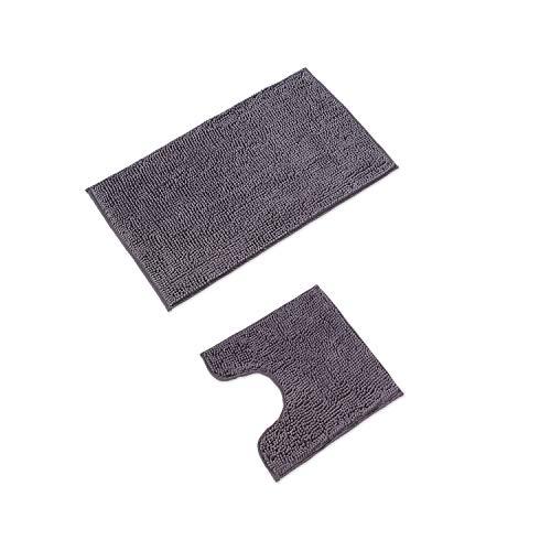 WohnDirect Alfombrilla de baño Conjunto - Alfombra baño Juego - Antideslizante - Lavable - Alfombra para el Cuarto de baño - Gris - 50 x 80 cm + 45 x 45 cm con Recorte para el Inodoro