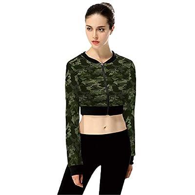 Digital Camouflage Patterns Modern FashionWomen's Long Sleeve Zipper Up Solid Crop Top Jacket for Sports,3XL from C COABALLA