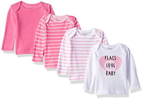 Hanes baby girls Ultimate Flexy 4 Pack Long Sleeve Crew Tees T Shirt Set, Pink Stripe, 12-18 Months US
