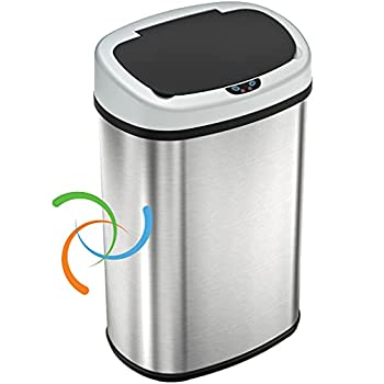 iTouchless 13 Gallon SensorCan Touchless Trash Can with Odor Control System Stainless Steel Oval Shape Kitchen Bin